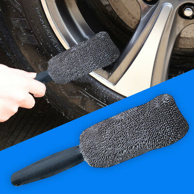 Microfiber Long Handle Tire Brush Car Cleaner Wheel Wash Cleaning Tools Towel US