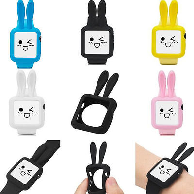 3D Kid Cartoon Cute Rabbit Ears Silicone Protective Case for Apple Watch 1/2/3