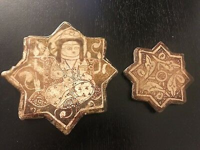 Two Antique Persian Islamic Seljuq Ilkhanid Lustre Star Tiles Kashan Nishabur