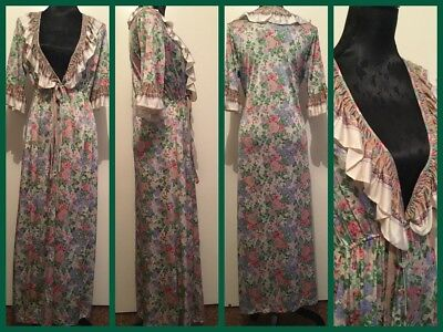 Vintage Retro Floral House Coat Dressing Gown Size Small