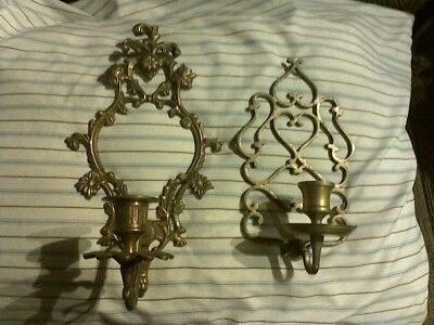 2 vintage wall hanging candle sticks brass very ornate 1 from india both nice