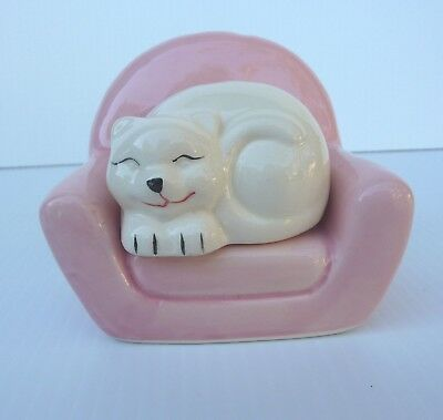 Pink Chair with Sleeping White Cat Salt and Pepper Shakers Ceramic