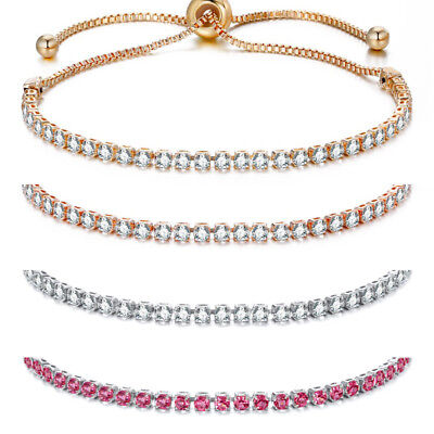 Fashion Women Rhinestone Crystal Bracelet Adjustable Bangle Cuff Jewelry Gift