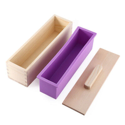 Wood Loaf Soap Mould with Silicone Mold Cake Making Wooden Box 0.9/1.2kg soap ON