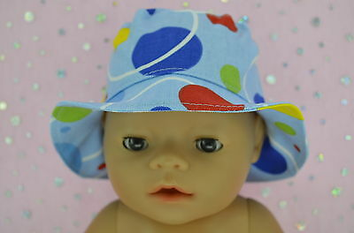 """Play n Wear Doll Clothes To Fit 17"""" Baby Born BLUE/SPOT DRILL SUN HAT"""