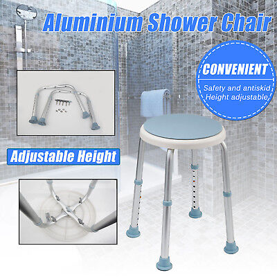 Aluminium Shower Chair Stool Adjustable Swivel Soft Seat Bench Bath Safety Aid