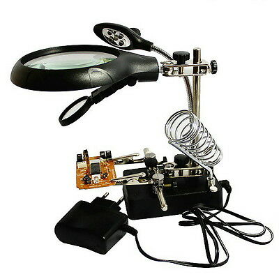 2.5X 7.5X 10X 5 LED Light Desktop Magnifier Auxiliary for Model Making Repairing