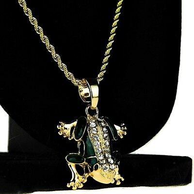 """14k Gold Plated Bling Frog Rope Chain Micro Pendant Hip Hop Necklace 24"""" Inch"""