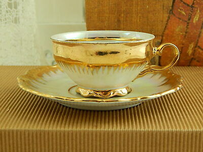 Antica Tazza E Piattino Porcellana Madreperla Oro Bavaria Seltmann Theresia