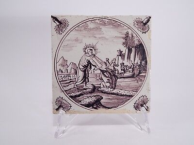 Antique 18Th Century Manganese Hand Painted Delft Bible Scene Tile