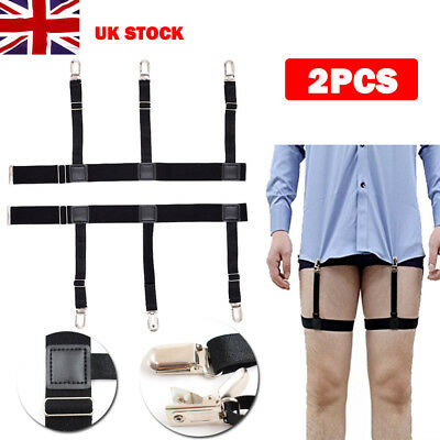 Men T Shirt Suspender Stay Holder Elastic Garter With Non-slip Locking Clamps UK