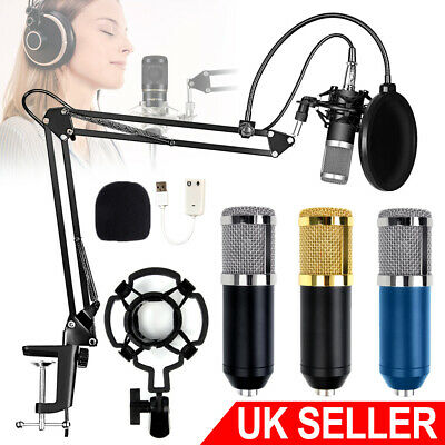Audio Vocal Studio Mic Condenser Microphone Kit Arm Clip Stand Holder Pop Filter