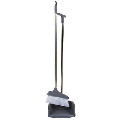 Long Handled Dustpan & Brush Set Dust Pan Broom Sweeper Cleaning Lobby Strong