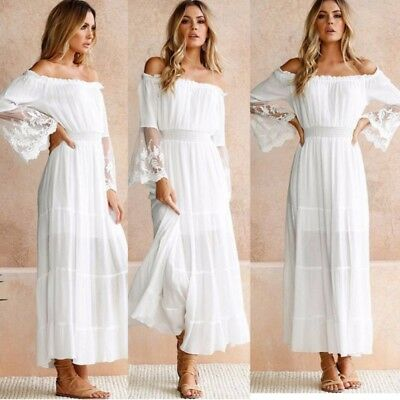 Women Boho Lace Long Sleeve Off Shoulder Party Evening Beach Maxi Long Sun Dress