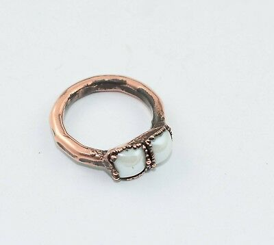 1 PC White Stone Gemstone Copper Electroplated Stackable Hammered Ring