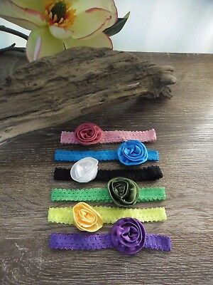 Brand New Hand Made Baby Girl ElasticHeadbands6 Pack/Mixed colour Lot
