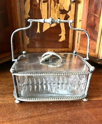 Antique Victorian Silver Plate And Cut Glass Sardine Box Barker Bros 1880
