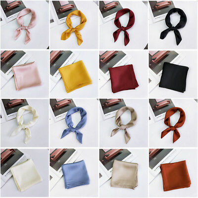 Women Solid Vintage Square Silk Feel Satin Scarf Skinny Head Neck Hair Tie Band