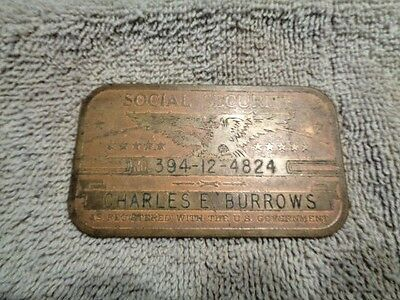Card Plate Eagle Or Brass Social Antique Old Picclick Vintage 95 Logo - Rare Copper Security 89