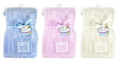 First Steps Coral Stripe Baby Blanket with Pram Embroidery 75x100 cm