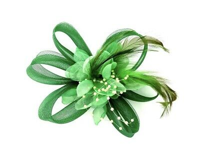 Emerald Green Feather Fascinator Hair Clip Ladies Day Races Party Wedding