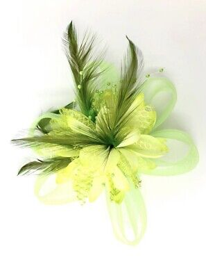 Lime Green Feather Fascinator Hair Clip Ladies Day Races Party Wedding