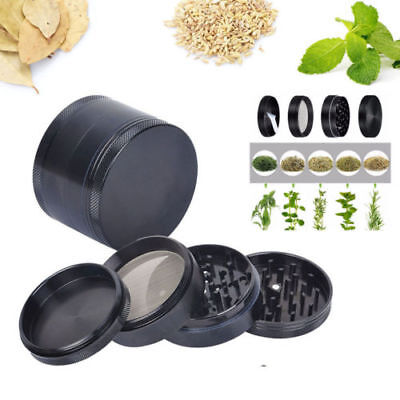4 Piece Magnetic 2 Inch Black Tobacco Herb Grinder Spice Aluminum With Scoop