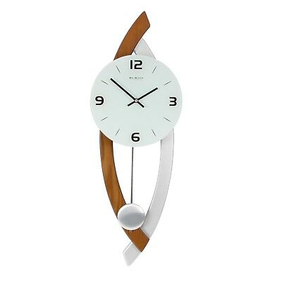Modern  Wood / Silver & Glass Wall Clock With Pendulum. New And Boxed.wooden