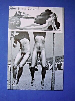 Postcard / Two Nude men hanging on Coca-Cola Sign / Gay Interest