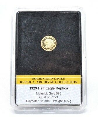 1929 HALF EAGLE INDIAN HEAD Coin Solid Gold Archival Collection PROOF COA 14CT