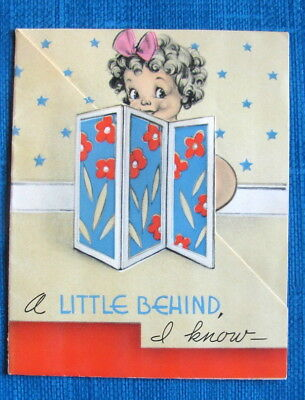 NAUGHTY A LITTLE BEHIND VINTAGE BIRTHDAY GREETING CARD COLORFUL RUST CRAFT 30s