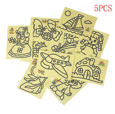 5pcs Kids DIY Color Sand Painting Art Creative Drawing Toys Sand Paper Crafts GX