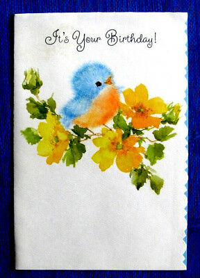 Fuzzy Baby Blue Bird In Yellow Flowers Vintage Birthday Greeting Card Blue Jay