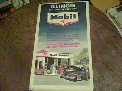 1962 Mobil Illinois Chicago & Vicinity road map wb13