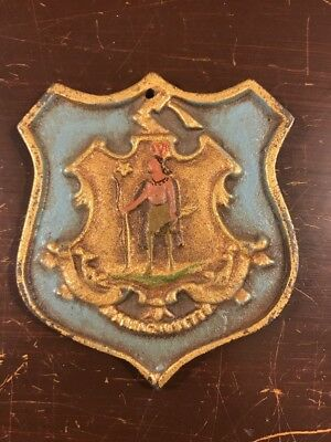 Vintage Massachusetts State Seal Crest Shield Plaque Painted Cast Iron Metal