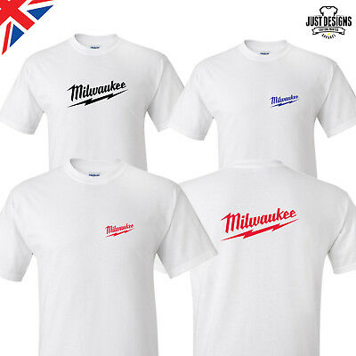 Milwaukee White Logo T-shirt Shirt Adults Mens Ladies Kids S-5XL Power Tools