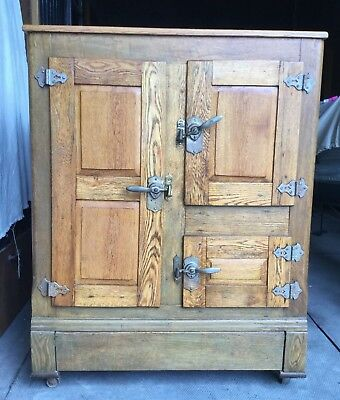 Vintage Antique Ice Box Icebox Wood Refrigerator Local Pick Up Only! Excellent
