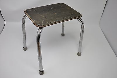 Antique Small Rectangular All-Steel Stool Portable Industrial Decor