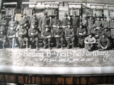 U.S. ARMY 1921 Dated  B BATTTERY/1st ARTILLERY Bn YARD LONG PHOTO in OLD FRAME