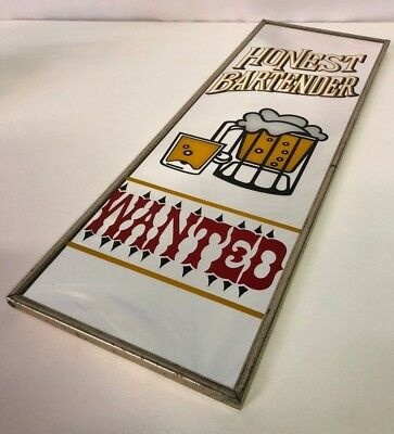 Vintage Honest Bartender Wanted Bar Mirror Frame Made In Japan