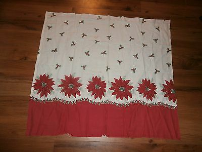 """homemade vintage christmas curtain with poinsettias one panel 37"""" long by 39wide"""