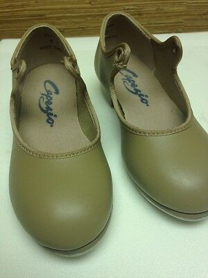 CAPEZIO - Girls Tan/Beige Tap Dance /Clogging Shoes - Size 8.5 W