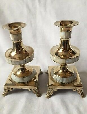 Vintage Ornate Pair Solid Brass And Mother Of Pearl Candlesticks