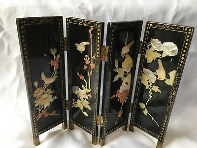 A Vintage, Black Laqueured,Chinese/Oriental, Mother of Pearl Floral 4 Panels