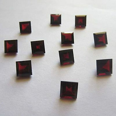 5 P.lot Natural Red Garnet 8X8 Mm Square Cut Faceted Loose Gemstone For Jewelry