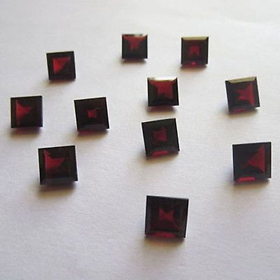 25 P.lot Natural Red Garnet 5X5 Mm Square Cut Faceted Loose Gemstone For Jewelry