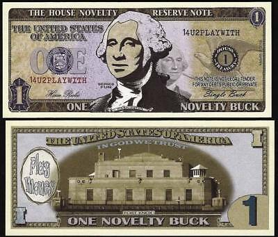 Lot of 100 Bills- One Novelty Buck, Play Money Dollar House Novelty Reserve Note