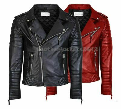 Mens Genuine Leather Jacket Slim Fit Real Biker New Vintage St-49C