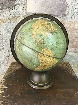 Antique 1930's Crams 10.5 Inch World Globe with Brass Arm & Metal Base