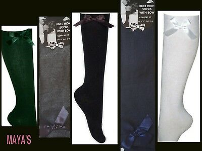 Girls Knee High Bow Socks~Girls School Socks Uniform 1/3/6 Pairs Available